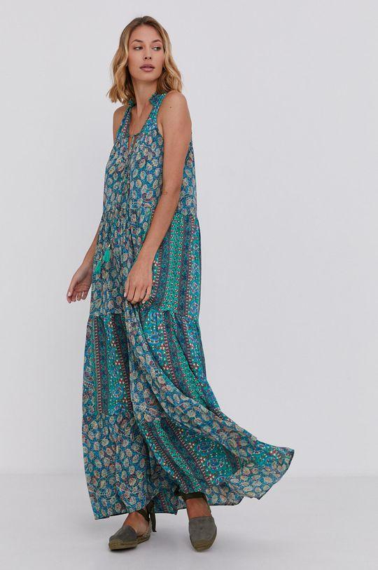 zelená Answear Lab - Hedvábné šaty Silk Blend