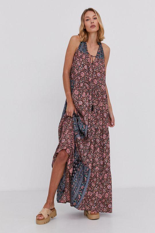 růžová Answear Lab - Hedvábné šaty Silk Blend Dámský
