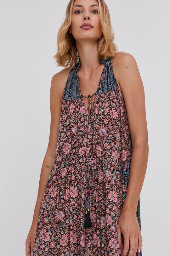 růžová Answear Lab - Hedvábné šaty Silk Blend
