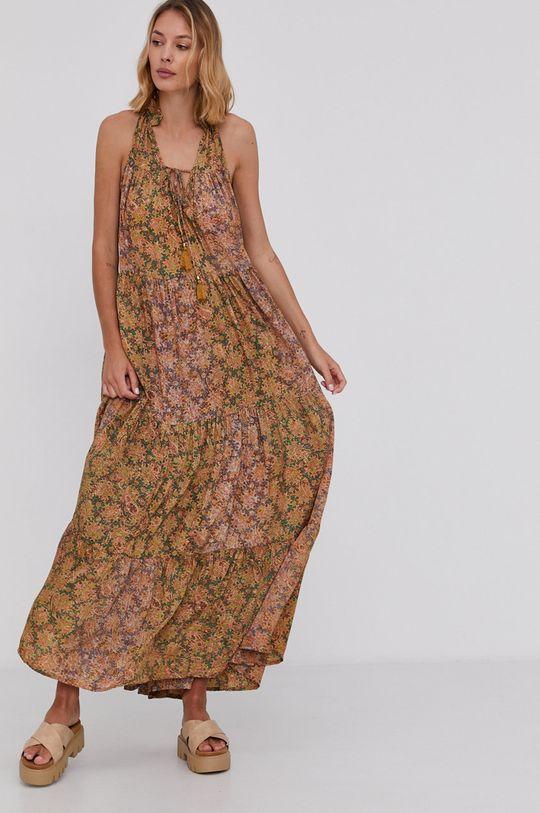 žlutá Answear Lab - Hedvábné šaty Silk Blend Dámský