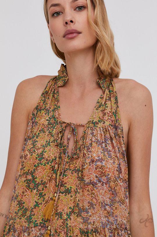 žlutá Answear Lab - Hedvábné šaty Silk Blend