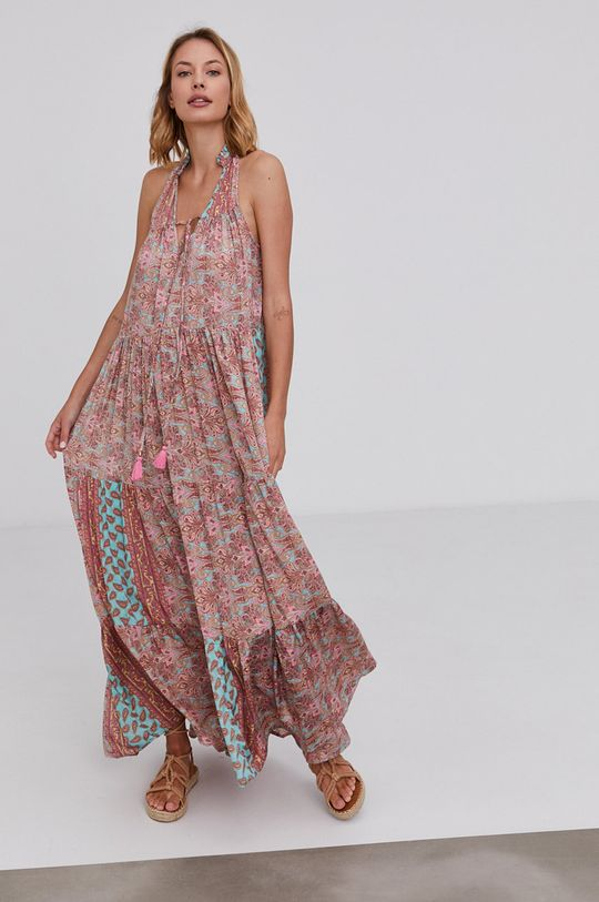 pastelově růžová Answear Lab - Hedvábné šaty Silk Blend Dámský