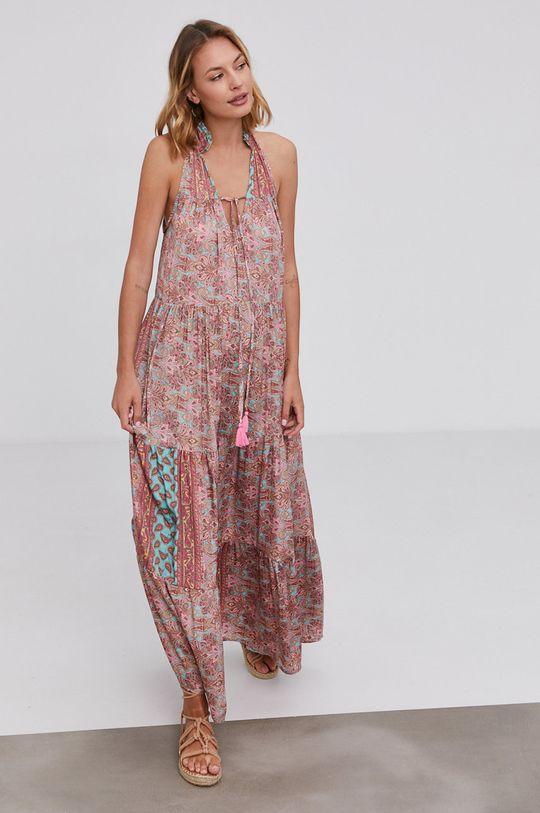 Answear Lab - Hedvábné šaty Silk Blend pastelově růžová