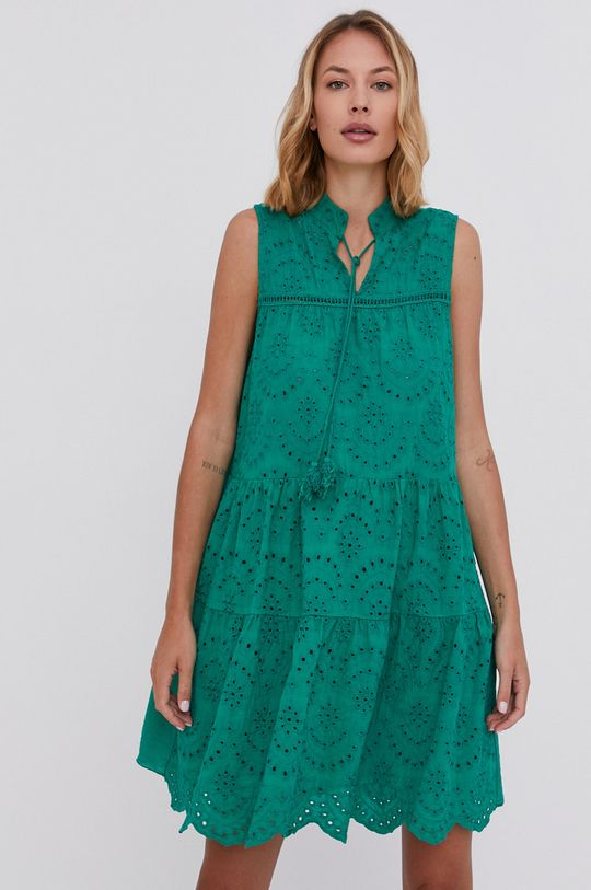 zelená Answear Lab - Bavlněné šaty Dámský