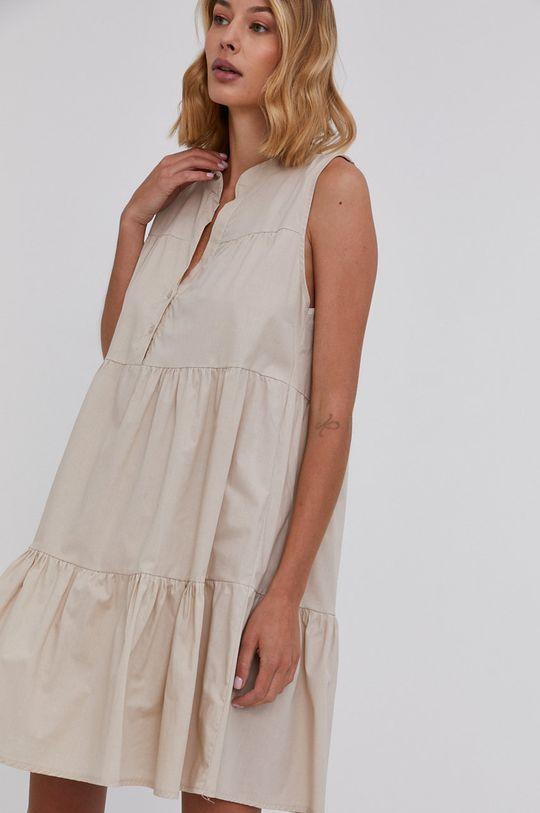 béžová Answear Lab - Bavlněné šaty Dámský