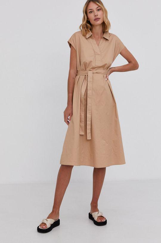 beżowy Answear Lab - Sukienka bawełniana Damski