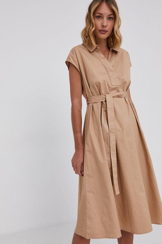 Answear Lab - Sukienka bawełniana beżowy