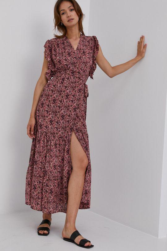 červená Answear Lab - Hedvábné šaty Silk Blend Dámský