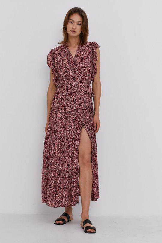 Answear Lab - Hedvábné šaty Silk Blend červená