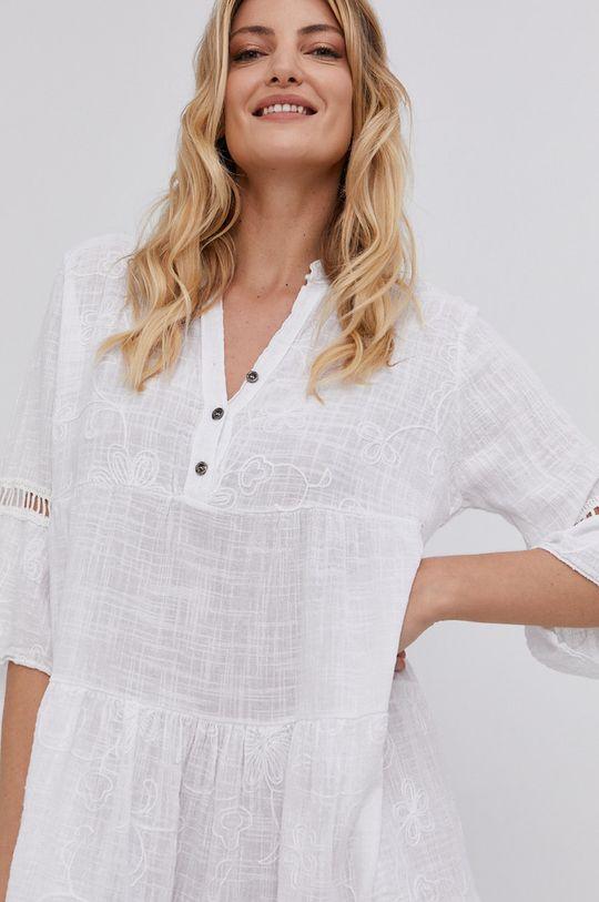 bílá Answear Lab - Bavlněné šaty