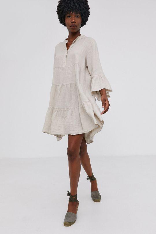 Answear Lab - Plátěné šaty Pure Linen béžová