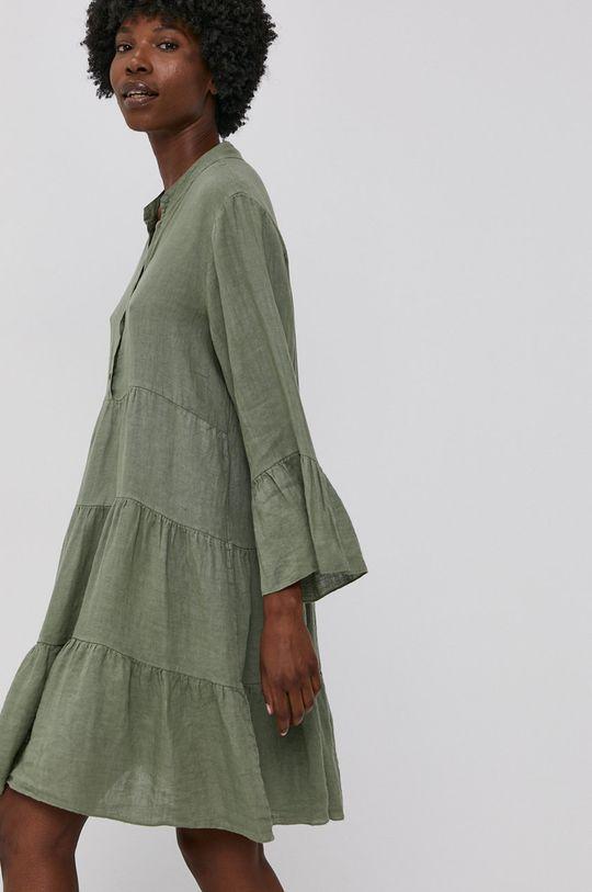 zielony Answear Lab - Sukienka lniana Pure Linen Damski