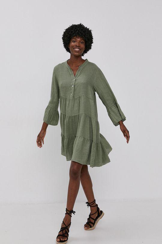 Answear Lab - Sukienka lniana Pure Linen zielony