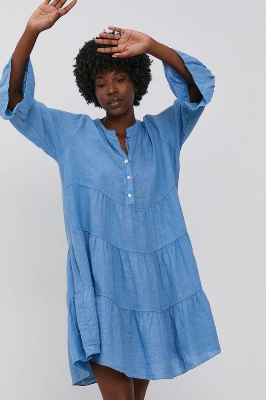 modrá Answear Lab - Plátěné šaty Pure Linen Dámský