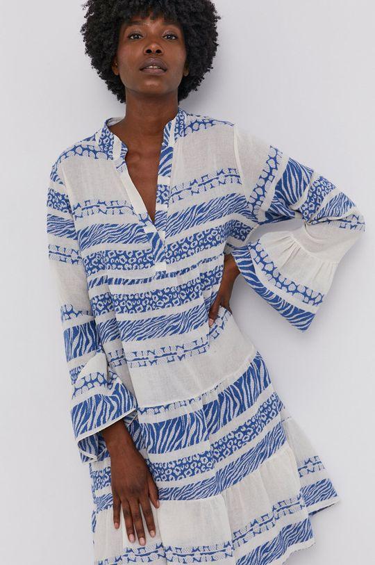 modrá Answear Lab - Plátěné šaty Pure Linen