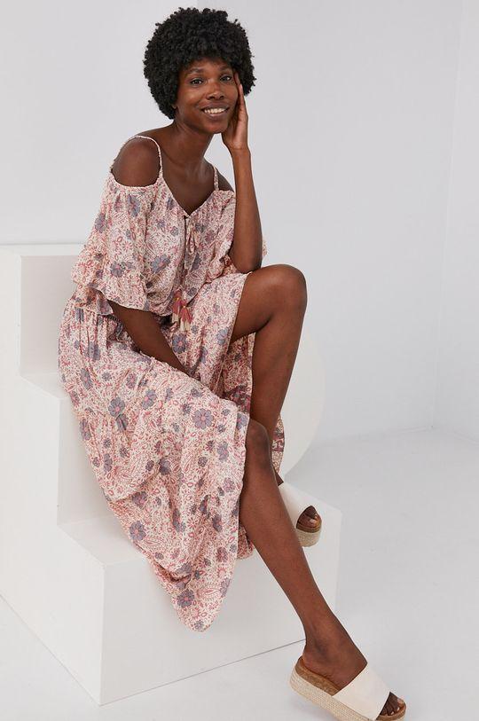 růžová Answear Lab - Šaty se směsí hedvábí Silk Blend Dámský