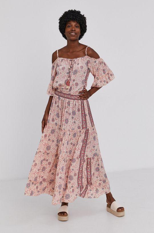 Answear Lab - Šaty se směsí hedvábí Silk Blend růžová