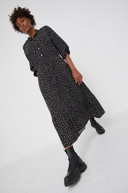 czarny Answear Lab - Sukienka z domieszką wełny Damski