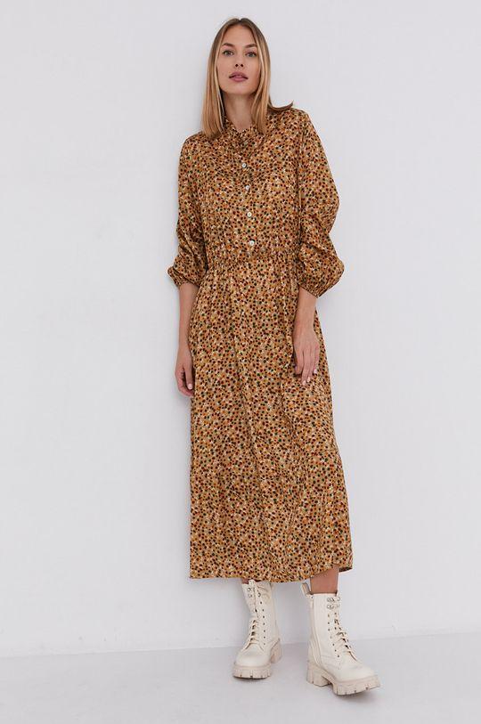 Answear Lab - Sukienka z domieszką wełny beżowy