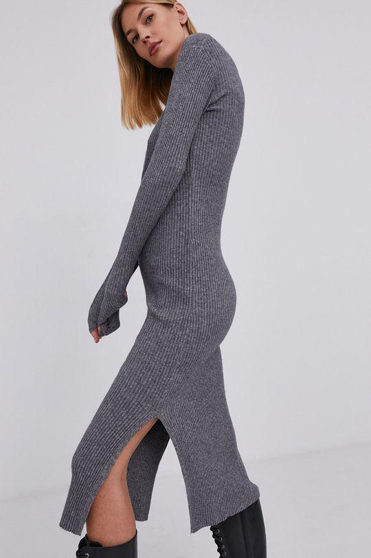 szary Answear Lab - Sukienka z domieszką wełny Damski