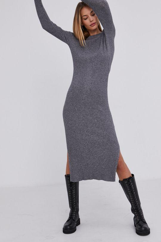 Answear Lab - Sukienka z domieszką wełny szary