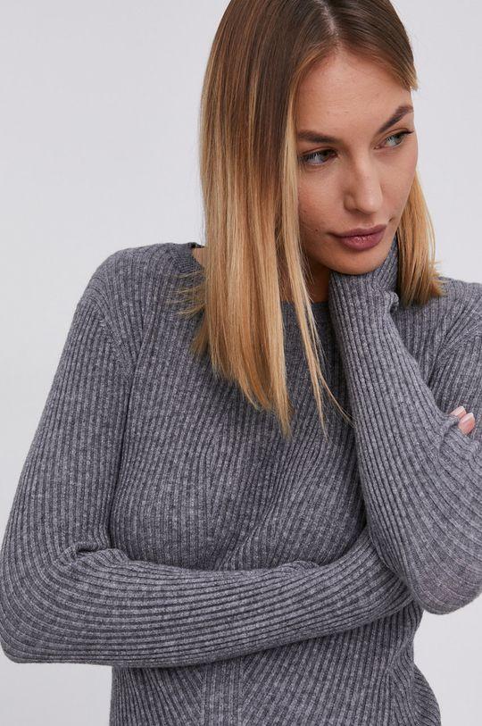 szary Answear Lab - Sukienka z domieszką wełny