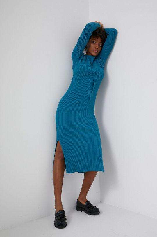 Answear Lab - Sukienka z domieszką wełny zielony