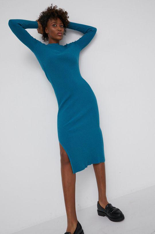 zielony Answear Lab - Sukienka z domieszką wełny