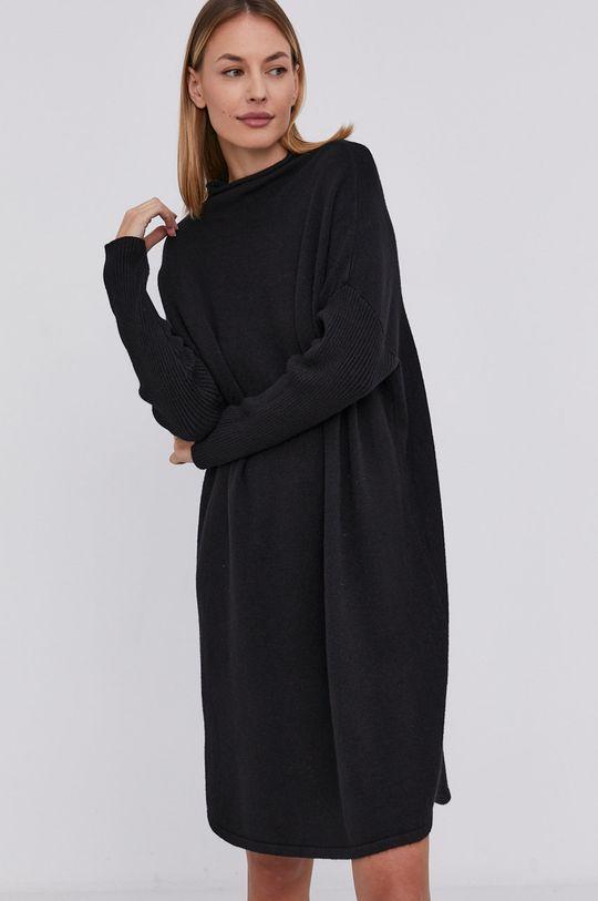 Answear Lab - Sukienka z domieszką wełny czarny