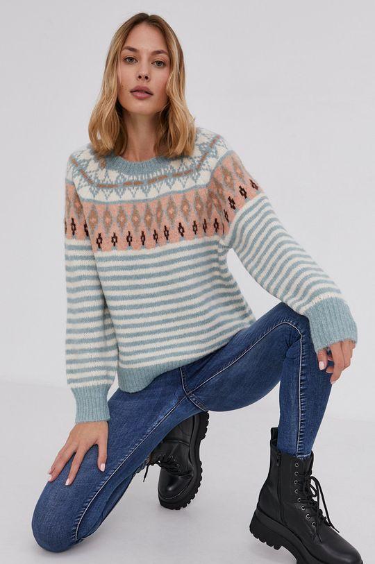 Answear Lab - Sweter z domieszką wełny niebieski