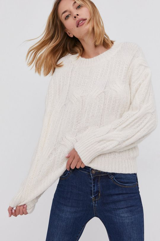 kremowy Answear Lab - Sweter z domieszką wełny Damski