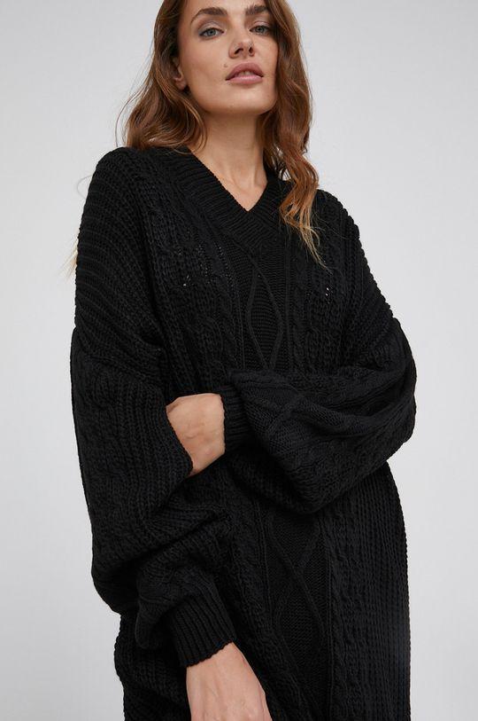 czarny Answear Lab - Sukienka z domieszką wełny