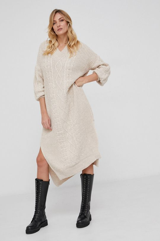 beżowy Answear Lab - Sukienka z domieszką wełny Damski