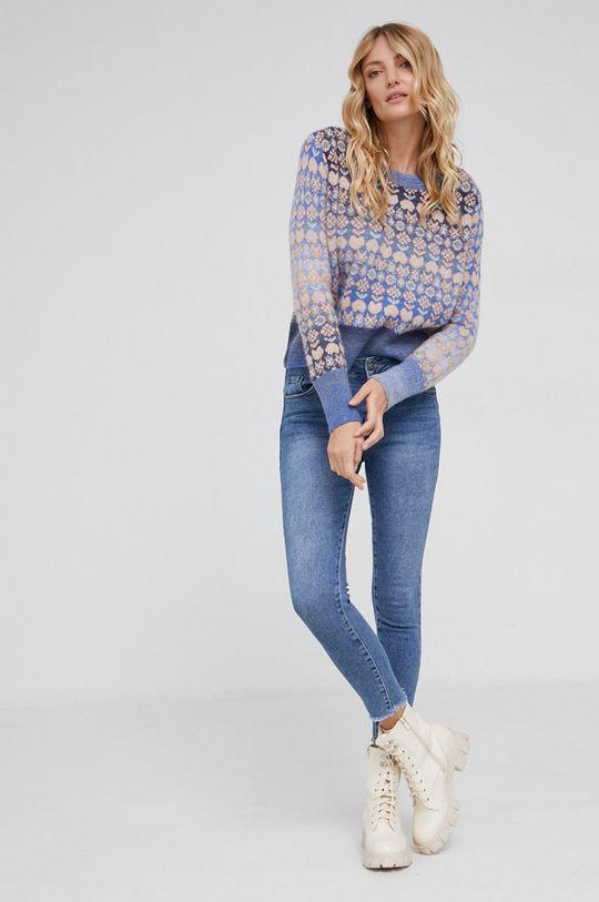 Answear Lab - Sweter wełniany niebieski
