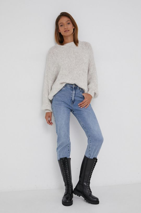 Answear Lab - Sweter z domieszką wełny kremowy