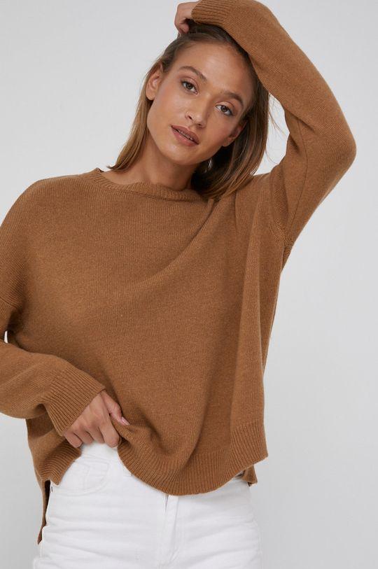 złoty brąz Answear Lab - Sweter z domieszką kaszmiru Damski
