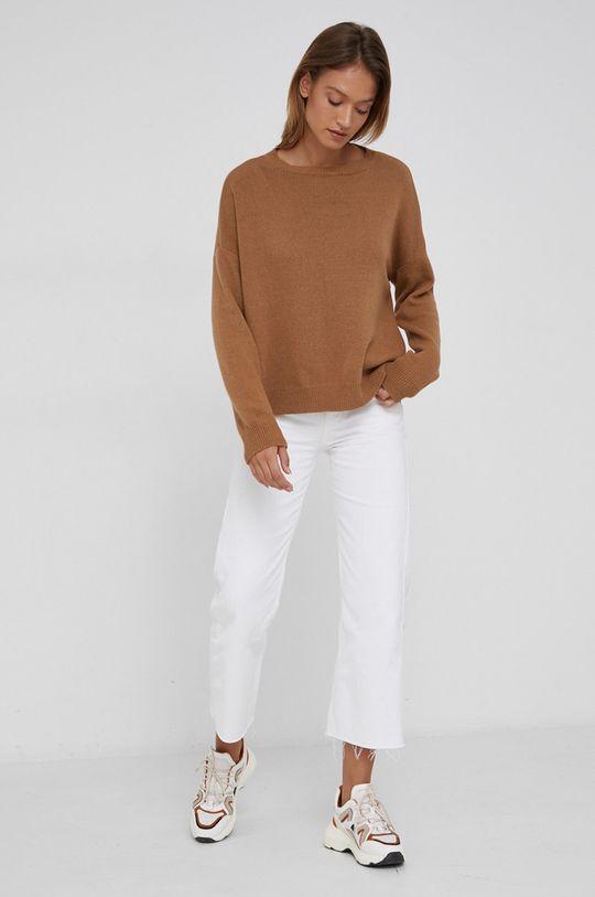 Answear Lab - Sweter z domieszką kaszmiru złoty brąz
