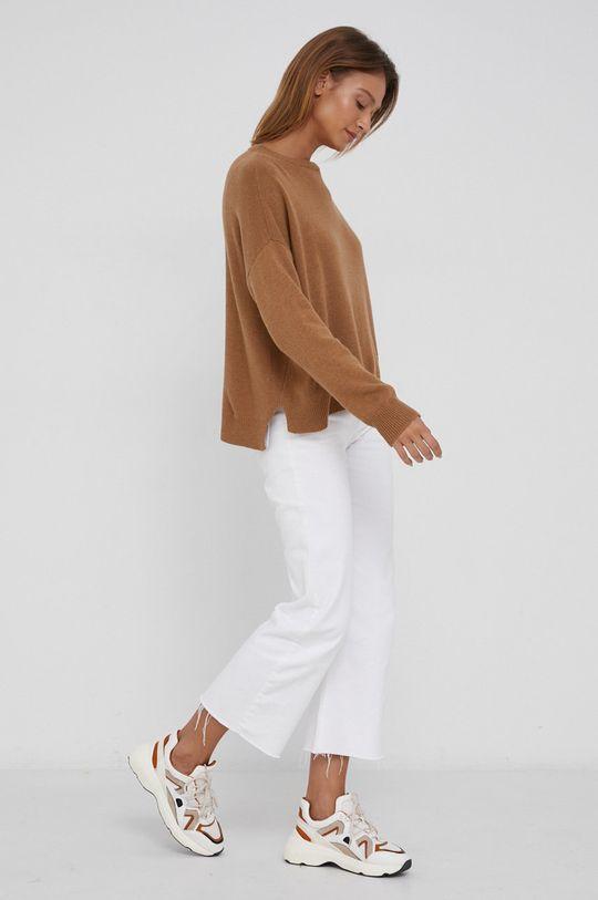 złoty brąz Answear Lab - Sweter z domieszką kaszmiru