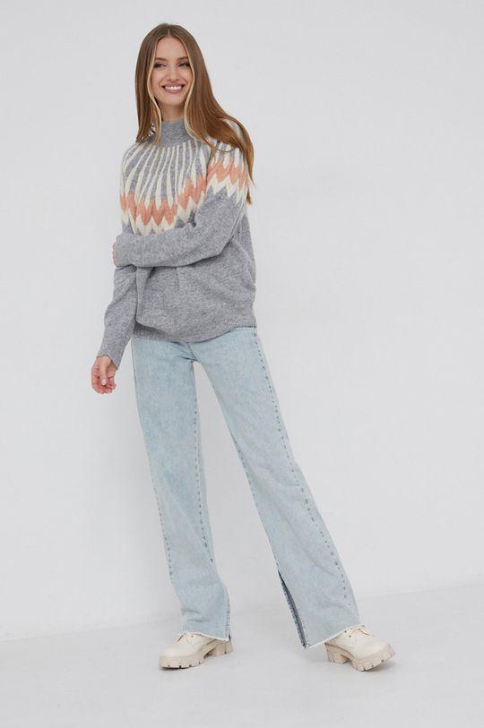 szary Answear Lab - Sweter z domieszką wełny Damski