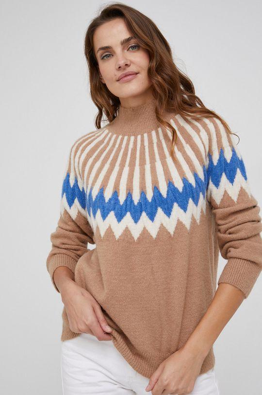 złoty brąz Answear Lab - Sweter z domieszką wełny Damski