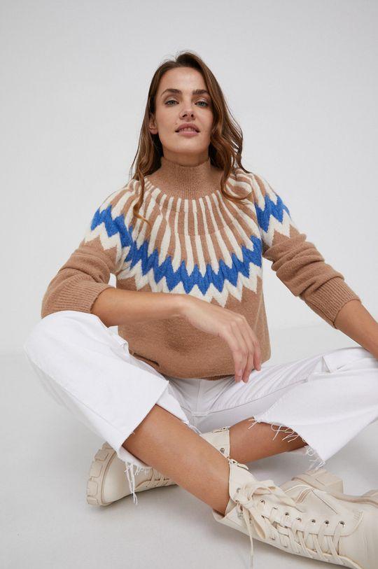 Answear Lab - Sweter z domieszką wełny złoty brąz