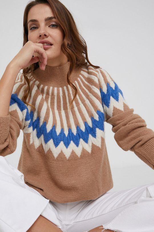 złoty brąz Answear Lab - Sweter z domieszką wełny