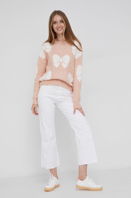 Answear Lab - Sweter z domieszką wełny różowy