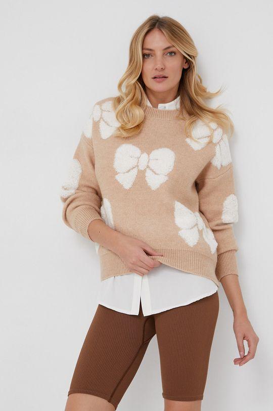 Answear Lab - Sweter wełniany beżowy