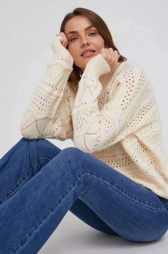 beżowy Answear Lab - Sweter z dodatkiem wełny Damski