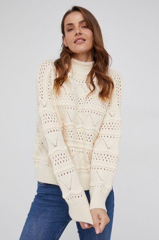 Answear Lab - Sweter z dodatkiem wełny beżowy