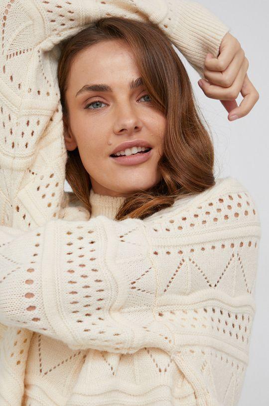 beżowy Answear Lab - Sweter z dodatkiem wełny