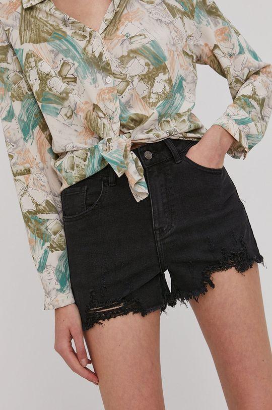 čierna Answear Lab - Rifľové krátke nohavice Dámsky