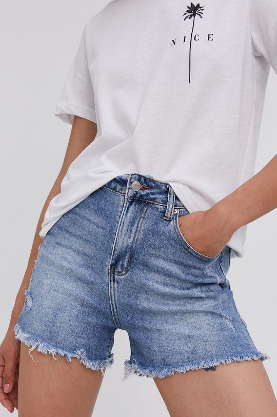 modrá Answear Lab - Rifľové krátke nohavice Dámsky