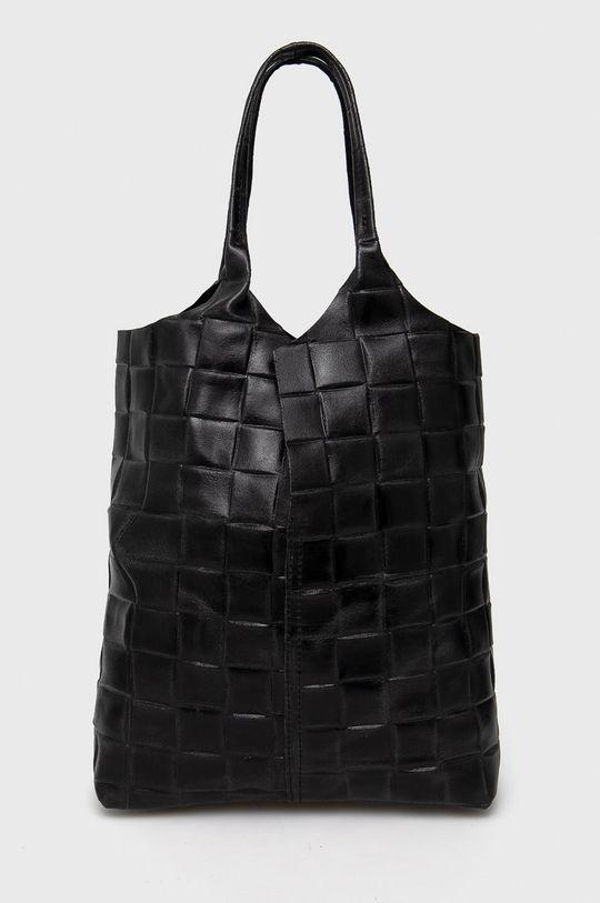 čierna Answear Lab - Kožená kabelka